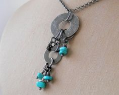 Silver Turquoise Chain Necklace (can't be too hard!)