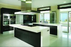 Modern-kitchen : Elegant Black And White Kitchen Design Ideas Contemporary Black ~ Glubdub Contemporary Kitchen Interior, Modern Kitchen Design, Interior Design Kitchen, Contemporary Homes, Interior Ideas, Beautiful Kitchen Designs, Best Kitchen Designs, Beautiful Kitchens, Kitchen Sets
