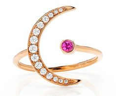 Crescent Moon ring in 14k rose gold with pink sapphire and 0.21 ct. t.w. diamonds, $925; EF Collection