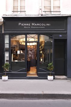 exterior of pierre marcolini haute chocolaterie, a gournet chocolates store in paris, france | shopping + travel #storefronts