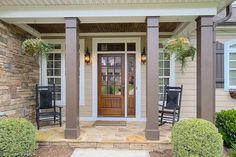Front porch in plan #921 - The Ivy Creek. http://www.dongardner.com/plan_details.aspx?pid=2487. #Front #Porch #Exterior
