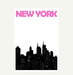 New York  Print  8x11 A4 size by Pomalia on Etsy, $17.00