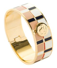 Love this White & Beige Quarterdeck Hinge Bangle on #zulily! #zulilyfinds