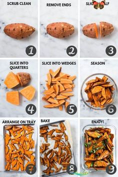 Easy Sweet Potato Meal Prep  Baked Sweet Potato Fries 4 Ways  A Sweet Pea Chef<br> Sweet Potato Recipes Healthy, Healthy Snacks, Healthy Food Prep, Healthy Meal Recipes, Meal Prep Recipes, Yam Recipes, Chicken Recipes, Healthy Chips, Eating Healthy