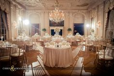 wedding reception #rosecliff #mansion #gold #ivory #neutral
