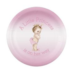 Pink Little Princess Baby Shower 7 Inch Paper Plate