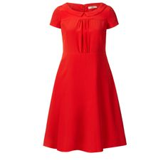 Orla Kiely: Silk crepe de chine short sleeve dress. The dress has a lovely scoop neck with collar. The dress has a fitted bodice and a lovely flared skirt. Fully lined. Zip in centre back to fasten.        Length: 91cm