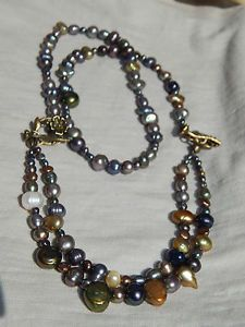 Hand Made Antique Brass Natural Freshwater Pearls Convertible Bracelet Necklace | eBay