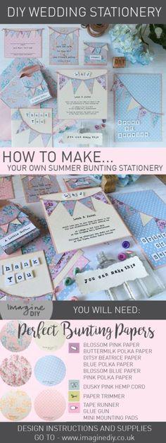 Make summer bunting wedding stationery