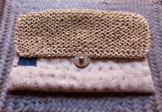 rustic pouch in natural linen and vintage japanese cotton; hand sewn and hand knitted