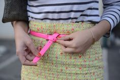 #neon belt is a great way to add a touch of color! #style #fashiontips #fashion