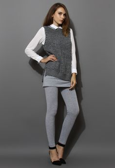 Grey Fishnet Knit Vest