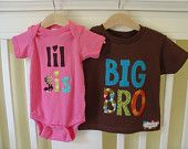 Big Sister Little Brother Matching Shirt and Onesie - Brown, Raspberry Pink. $40.00, via Etsy.