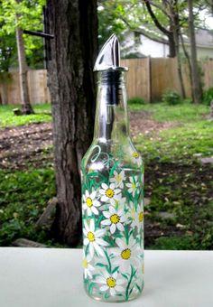 Reciclado de aceite y vinagre botella por GlassGaloreGal en Etsy