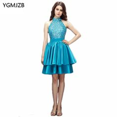 Find More Cocktail Dresses Information about New Fashion Cocktail Dresses 2018 A Line Halter Open Back Beaded Crystal Tiered Short Dress Women Formal Party Cocktail Dress,High Quality cocktail dresses,China cocktail dress fashion Suppliers, Cheap crystal dress short from Shop1404230 Store on Aliexpress.com