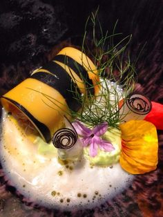 tiger shrimp canneloni - tom ka kai - avocado - smoked paprika