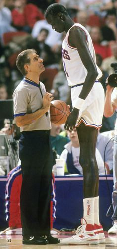 Manute Bol was the tallest man in the NBA at 7'7''.  He was one of the best blockers in history.  He lacked strength, only weighing 200 lbs (after gaining 20 lbs from weight training).  After retirement from basketball, he worked on humanitarian causes.  He died at age 47 from an adverse reaction to a medication.