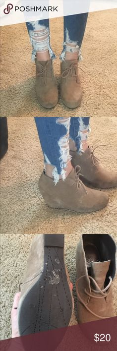 """Tan suede lace up wedge booties Really comfortable lace up wedge booties. I've worn them maybe 5 times... I'm 5'10"""" and just don't need the extra height. They look great with jeans or dresses Dolce Vita Shoes Ankle Boots & Booties"""
