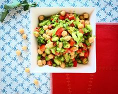 Chickpea garden salad.  Easy to make in a hurry.