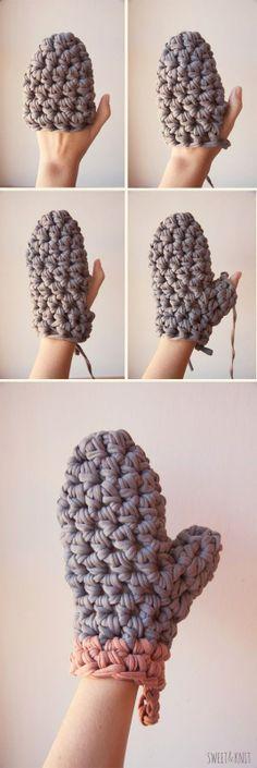 Crochet XXL Glove - Tutorial. idea for oven mitt