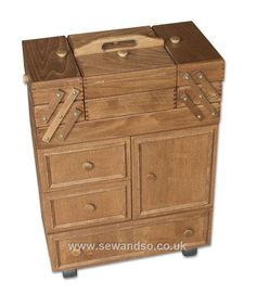 Sewing Cabinet on Wheels, Beech Wood - Brown