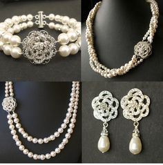 Vintage Art Deco Bridal Necklace, Wedding Jewelry, Ivory White Swarovski Pearl Necklace, Rhinestone Rose Necklace, ROSE