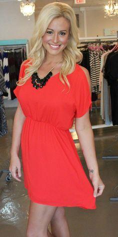 Open Shoulder Dress-Red