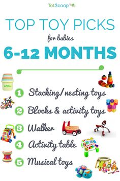 Here is an overview of our top toy categories for 6-12 month olds, with links to picks in each section: Stacking/nesting cups First blocks and activity toys Walker Activity table Musical toys See a...