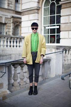 London Fashion Week street style, February 2012. Photographer: Marcus Dawes