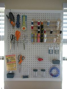 Peg Board Sewing Room - hide on the back of cabinet door Sewing Room Storage, Sewing Room Organization, My Sewing Room, Sewing Rooms, Craft Storage, Sewing Crafts, Sewing Projects, Sewing Station, Sewing Spaces