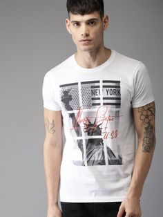 Buy HERE&NOW Men White Printed Round Neck T Shirt - Tshirts for Men 5508791 | Myntra