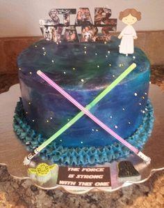 Star Wars Princess Leia Baby Shower Cake With Glow Stick Light Sabers