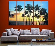 Online Shop 5118 handpainted 5 piece modern landscape oil painting on canvas wall art beach and palm tree picture for living room gift Living Room Pictures, Wall Art Pictures, Palm Tree Pictures, Paintings I Love, Oil Paintings, Beach Wall Art, Beach Mural, Landscape Walls, Oil Painting Abstract