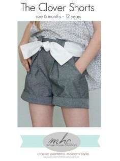 Little girl shorts pattern with a pleated front and rolled cuffs. Confident beginner level pattern.