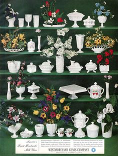 1962 Westmoreland print Ad in a magazine showing Hobnail Milk Glass Antique Dishes, Antique Glassware, Vintage Dishes, Vintage Pyrex, Vintage Kitchen, Fenton Milk Glass, Westmoreland Glass, Glass Dishes, Vintage Pottery