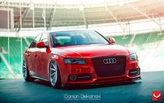Custom Front Bumper Cover on Red Audi - Photo by Vossen Red Audi, Custom Wheels, Military Discounts, Audi A4, Beetle, Eye Candy, Cars, Cover, Vw Bugs