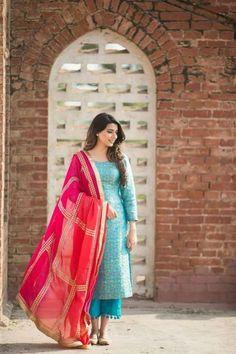 Blue Suit With Pink Net Dupatta