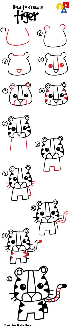 To Draw A Cartoon Tiger - Art For Kids Hub - How to draw a cartoon tiger, just for kids!How to draw a cartoon tiger, just for kids! Doodle Drawings, Cartoon Drawings, Cute Drawings, Animal Drawings, Drawing Animals, Cartoon Illustrations, Drawing Lessons, Drawing Tips, Art Lessons