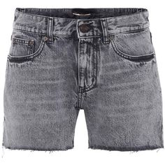 Saint Laurent High-Waisted Denim Cut-Off Shorts (£485) ❤ liked on Polyvore featuring shorts, black, cutoff shorts, high-waisted shorts, denim cut offs, cut-off shorts and high-rise shorts