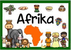 """Plakat """"Afrika""""  Anna-Lena hat sich für eine Projektwoche zum Thema """"Afrika"""" eine passendes Plakat gewünscht. Hier  kommt es auch schon. Vi... African Art For Kids, African Crafts, Continents Activities, Handas Surprise, Korean Stickers, Kindergarten Class, World Cities, Busy Book, Baby Play"""