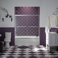 Clear bathtub door opens up sightlines. Bathtub Shower Doors, Door Opener, Open Up, Bathroom Ideas, Color, Colour, Decorating Bathrooms, Colors
