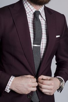 Maroon / Burgundy Suit with a Tie & a Tie bar