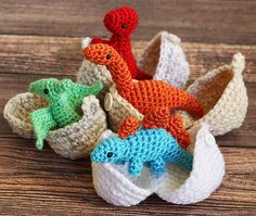 My toddler loves dinos and would get a kick out of these. Maybe bigger though? Dinosaur Amigurumi Toy with Egg Dino in Egg. My boy loves dinos