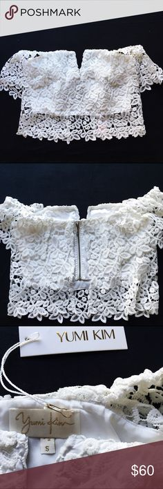 Yumi Kim Hot Stuff crop top in white S NWT New with tags Yumi Kim lace crop top, size small. Same top as in the last two images just a different lace, added to show the fit. So cute and perfectly in style for summer. Yumi Kim Tops Crop Tops