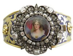 Queen Adelaide, Consort of William IV, 1830 miniature portrait set in diamonds, enamel, and gold.