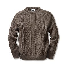 Crew Neck Sweater with Aran Isle Pattern. unbleached and non-dyed pure new wool. Yarn thickness Nm Back length 68 cm for size M. - Black Sheep Aran Pullover at Manufactum Mens Knitted Cardigan, Men Sweater, Pullover Sweaters, Knit Vest Pattern, Mens Fashion Sweaters, Knitwear, Black Sheep, Clothes, Wool Yarn