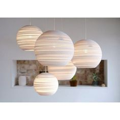 Graypants Moon Pendant Lamp Design The Moon pendant by Graypants emits a soft, glare-free light that creates a warm and welcoming atmosphere for any space and occasion. The corrugations of… Ceiling Rose, Ceiling Lights, Balloon Ceiling, Ceiling Light Shades, White Ceiling, Ceiling Ideas, Karton Design, Cardboard Design, Cardboard Boxes