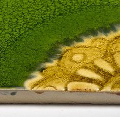 Handmade Ceramic Decorative Tile - Arabesque Corner in Grass & Ocher Glaze by DeKa Ceramic Tiles