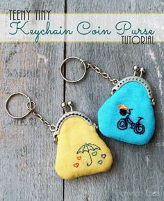 Teeny Tiny Embroidered Key Chain Coin Purses