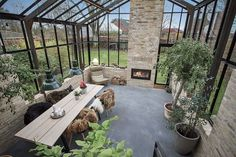 Orangery in Vodskov as an extension - exclusive architect-designed orangery listed in . Backyard Greenhouse, Greenhouse Plans, Greenhouse Kitchen, Large Greenhouse, Outdoor Spaces, Outdoor Living, Patio Interior, Winter Garden, My Dream Home